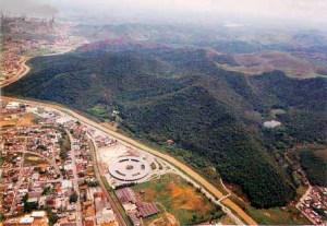 Vista aérea da Mata do Krambeck, proxima à Rodoviária